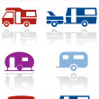 Stock Vector: Caravor camper vsymbol vector illustration set.