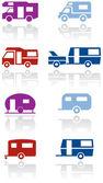 Caravan or camper van symbol vector illustration set. — Stock Vector