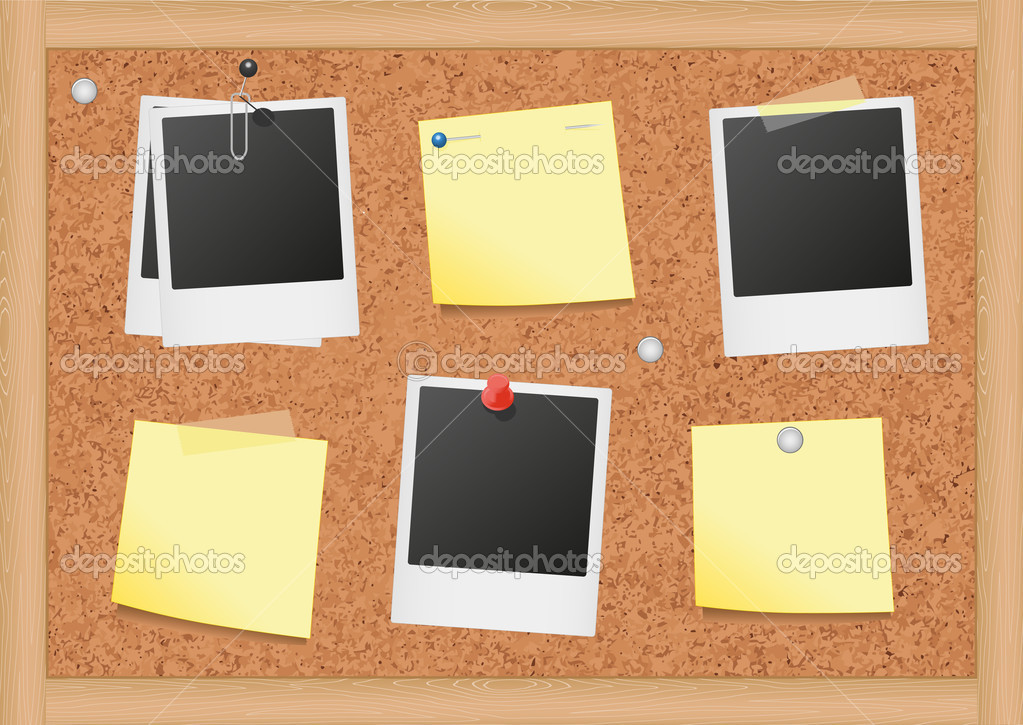Vector illustration of a cork bulletin board with notes ...