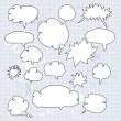 Set of hand drawn speech and thought bubbles — Stock Vector