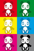 Cute colorful panda sticker — Stock Vector