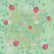 Tileable vector illustration of a seamless pattern of strawberries and flow — Stock Vector
