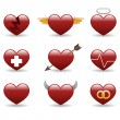 Heart glossy icons set - Stock Vector