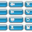 Shiny blue Internet  buttons set — Stock Vector