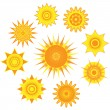 Suns collection — Stock Vector
