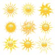 Smiling shiny suns set — Stock Vector #5122357