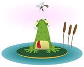 Frosch und gnat — Stockvektor