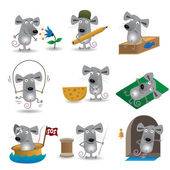 Funny mice set — Stock Vector