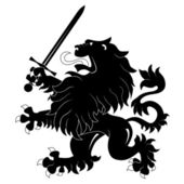 Heraldic lion with sword — Stock Vector