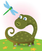 Little dinosaur and dragonfly — Stock Vector