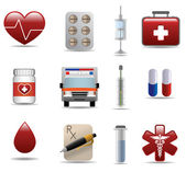 Medical and hospital shiny icons set — Stock Vector