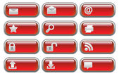 Shiny red Internet buttons set — Stock Vector