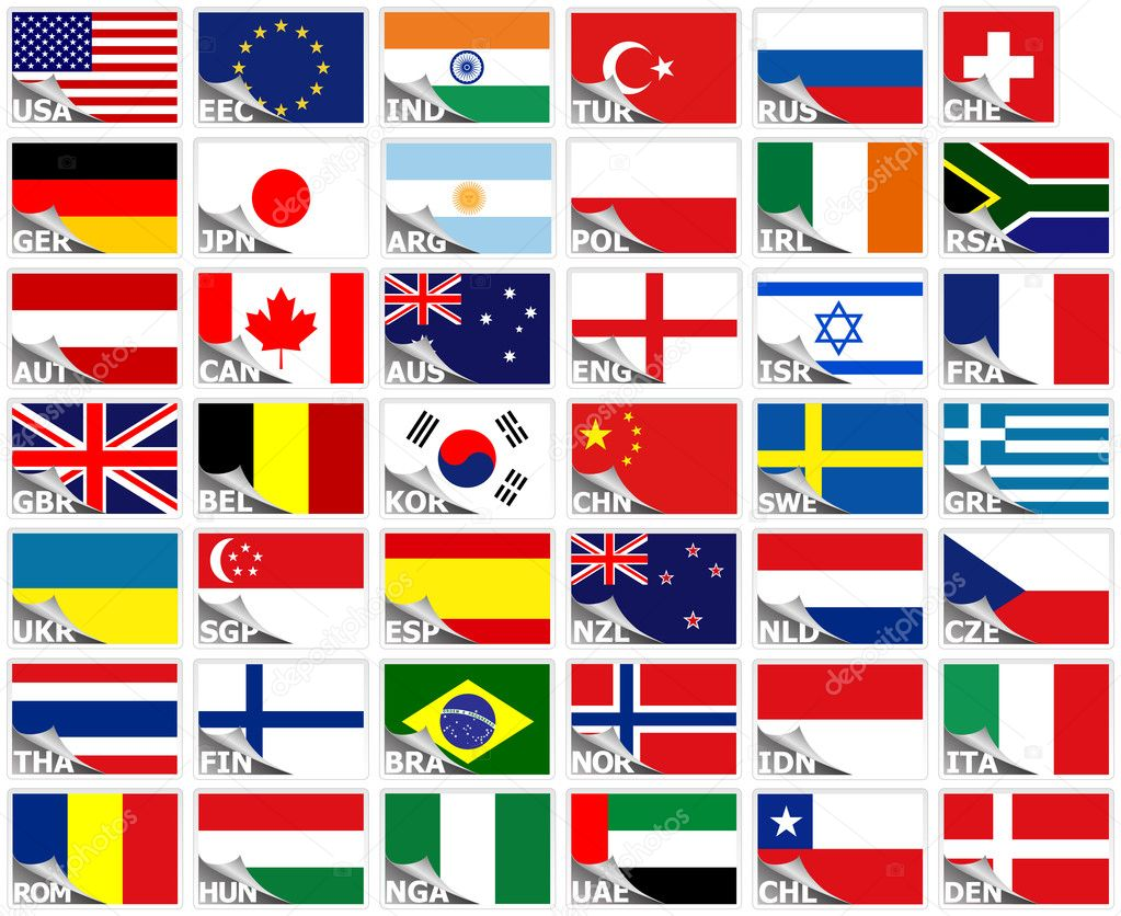 Flags of the world set (stickers collection) — Stock Vector #5122207