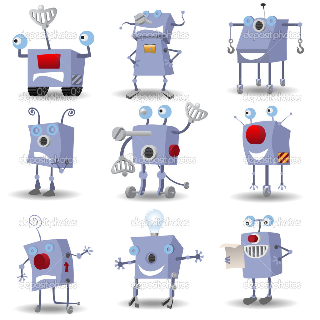 Funny robots set — Stock Vector #5122237