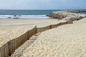 Wooden fence in beach — Stock Photo