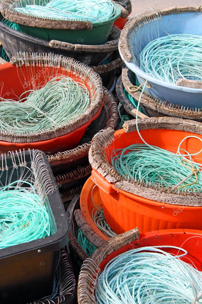 Colourful Fishermen ropes for line fishing — Stock Photo #4074876