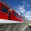 Alpine red train — Stock Photo
