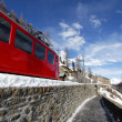 Stock Photo: Red mountain train