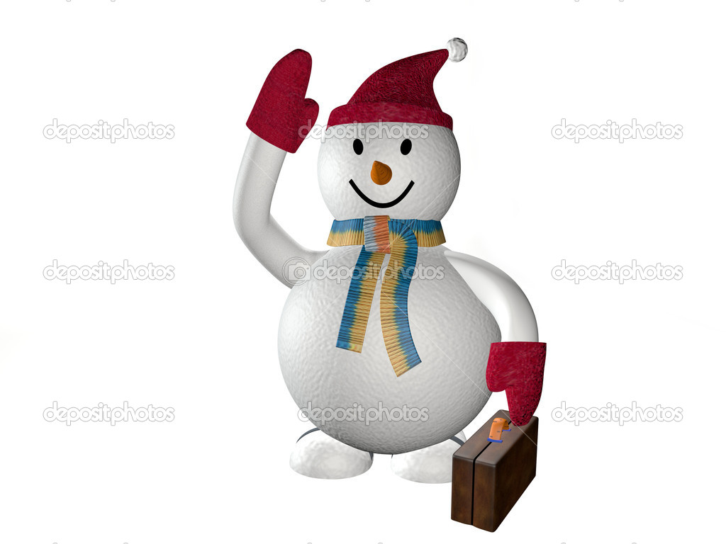 Smiling snow man in a cap and mittens, on a white background — Stock Photo #4367746