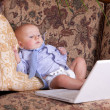 Baby businessman sits with the computer on sofa — Stock Photo
