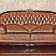 Antique leather brown sofa in the room — Stock Photo