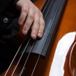 Man's hands playing electic contrabass — Stock Photo