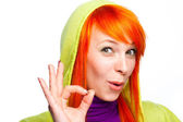 Smiling red hair woman showing ok sign — Stock Photo
