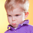 Blonde little upset boy pout — Stock Photo #5214335