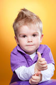 Little cute boy showing ok sign — Stock Photo