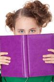 Girl peep behing open book — Stock Photo
