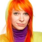 Upsed red hair woman looking at camera — Stock Photo