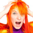 Shocked red hair woman screaming — Stock Photo