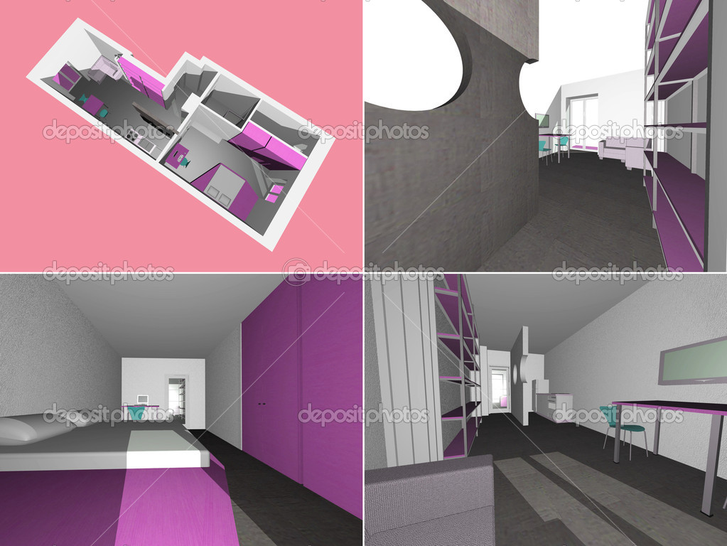 Technical drawing 3D model of house interior — Stock Photo #4625987