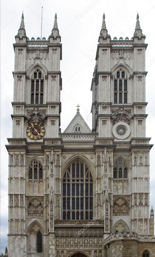 The Westminster Abbey church in London, UK - rectilinear frontal view — Stock Photo #4903999