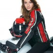 Sexy woman on motorcycle — Stock Photo