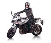Biker rides a motorcycle — Stock Photo