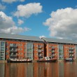 Warehouse in Gloucester dock and ships — Stock Photo #4903714