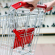 Woman pushing shopping cart in shoe store, vertical view - Stock Photo