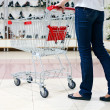 Lower half waist down image of woman in jeans pushing a shopping cart in a shoe store - Stock Photo