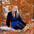 Young beautiful woman sitting on tree against autumn leaves — Stock Photo