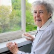 Portrait of senior woman standing at the window at her home - Stock Photo