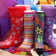 Colorful female rubber boots — Stock Photo