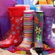 Colorful female rubber boots — Stock Photo #4294506