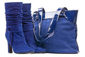 Blue female suede boots and bag on the white background — Stock Photo