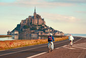 Mont Saint-Michel, a rocky island in Normandy, France — Stock Photo