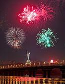 Fireworks in Kiev on Independence Day. Ukraine — Stock Photo