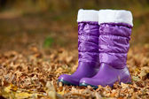 Pair of violet female boots with white edging in autumn foliage — Stock Photo