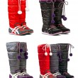 Colorful female winter boots on the white background — Foto Stock