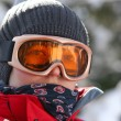 Female skier in goggles — Stock Photo