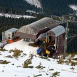 Stock Photo: Station of the ski chairlift, view from above.